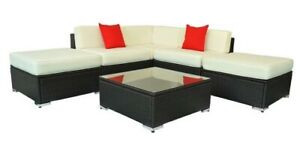 6 Piece Rattan Outdoor Conversation Patio Set