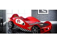Red racing car kids bed and mattress single size