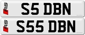 S5 DBN S55 DBN PAIR private number plates Audi Aston Martin DB7 DB9 DB11 David Billy Nick Stephen