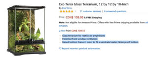 Exo Terra Reptile Terarrium - 12 by 12 by 18-Inch Paid $120