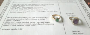 Emerald/diamond ring & Amethyst/pearl ring