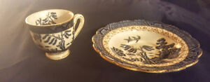 VERY NICE GOLD TRIMMED CUP & PLATE