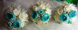 5 Piece Teal/Turquoise & White Wedding Bouquet Flower Package. London Ontario image 5