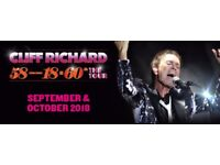 PAIR OF CLIFF RICHARD TICKETS 60TH TOUR BOURNEMOUTH BIC WEDS 17TH OCT 2018 TERRACE
