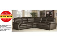 HALF PRICE LEATHER SOFAS AND CORNER GROUPS - PAY MONTHLY - QUICK DELIVERY