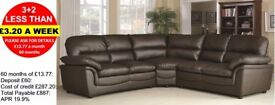 HALF PRICE LEATHER CORNER GROUPS AND SOFAS - PAY MONTHLY - QUICK DELIVERY