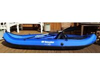 READY TO LAUNCH SEVYLOR RIO KCC305 COVERED INFLATABLE 1 PERSON KAYAK/CANOE - NEVER USED!