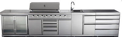 New 5 Rap over Modular BBQ Grill Atoll Open-air Kitchen w/ Wine Cooler + Degenerate