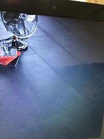B&Q Harmonia black slate effect laminate flooring. 6 packs,