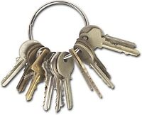 Large key ring with a huge number of keys on it
