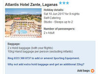 Holiday for sale - June 10th to June 19th, 2 x people to Zante, Greece