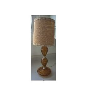 Vintage Fenton Amber Glass Quilted Pattern Lamp