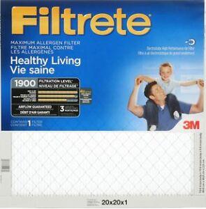 """Two 3M Maximum 1900MPR Furnace Filters - 20"""" x 20"""" x 1"""""""