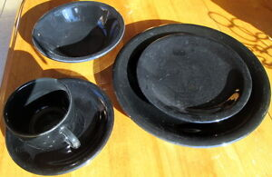Set of black Marketplace dishes