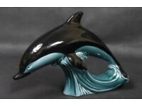 Large Poole Pottery Leaping Dolphin Ornament. Stamped Poole England.