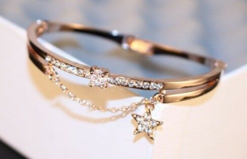 Crystal Star And Chain Cuff Bravelet