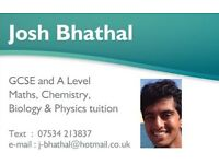 GCSE and A Level Maths, Chemistry, Biology and Physics tuition.