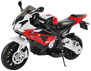 Licensed 12V BMW S1000 Child Ride On Motorcycle w Leather Seat
