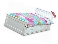 ingle wooden white bed with drawers
