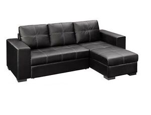 BONDED LEATHER SOFA WITH CHAISE AND BED