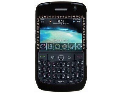 Rubberized Plastic Case Cover with Diamonds Black For BlackBerry Curve 8900