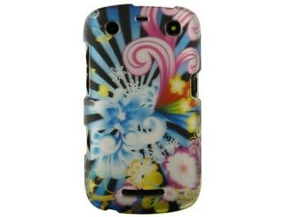 Rubberized Hard Plastic Neon Floral Phone Case Cover for BlackBerry Curve 9370