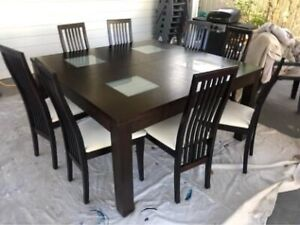 9 Piece brown solid wood dining set with 8 white leather chairs