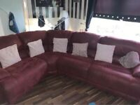 Red leather/suede recliner corner sofa