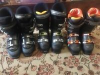 Various ski boots