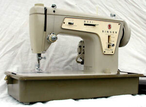 Heavy duty singer sewing machine with case