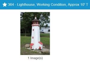 Online Estate Auction - Outdoor lighthouse/wagon wheels/benches