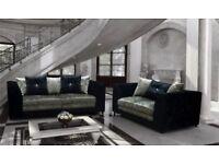 Crushed velvet bella 3&2 seater sofa