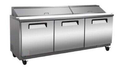 72 3-door Commercial Sandwich Salad Prep Table Cooler Station Refrigerator New