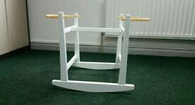 White Rocking moses basket stand. 3 left in stock. Brand new in sealed boxes.