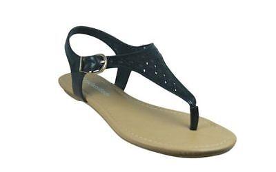City Classified Black Eyelet Ankle T Strap Flat Sandal Flip Flop
