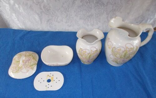 Antique 5 Pc. Cauldron England Porcelain Victorian Chamber Bath Set