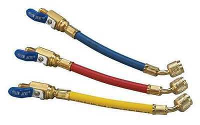 Yellow Jacket 25980 9 Flexflow Adapter Hoses 3-pak With Compact Ball Valves