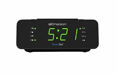 Emerson SmartSet Alarm Clock Radio with AM/FM Radio, Dimmer, Sleep Timer New