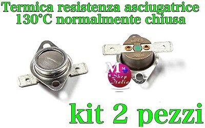 Kit 2 termostato termica resistenza asciugatrice Candy Hoover Ariston 130°C N.C.