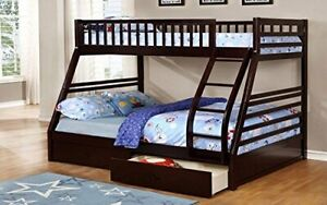 Furnberry - Twin Over Double Bunk Bed with 2 Drawers Solid Wood