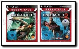 Uncharted 1 Drakes Schicksal + 2 Among Thieves Komplett Deutsch PS3, NEU & OVP