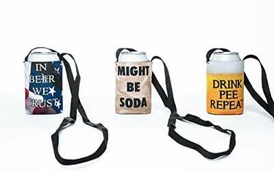 Best Coolie Lanyard Beer Can Sleeve 3-Pack Assortment - Necklace Beer Can Cover (Best Beer Variety Pack)