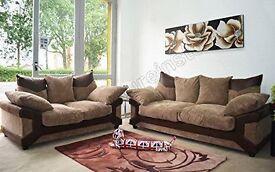 BRAND NEW - 3 & 2 SEATER DINO SOFA IN MALAGA LEATHER AND JUMBO CORD - EXPRESS DELIVERY