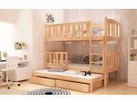 BRAND NEW 3 SLEEPER BUNK BED TRIPLE PINE WOODEN, MATTRESSES & STORAGE