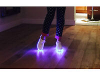 LATEST MULTICOLOUR LED SHOES WHITE TRAINERS WITH USB CHARGER SNEAKERS PUMPS L@@K