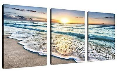 TutuBeer 3 Panel Beach Canvas Wall Art for Home Decor Blue Sea Sunset White