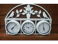 Cream Garden Clock Thermometer Celsius Fahrenheit & Hygrometer Weather Station