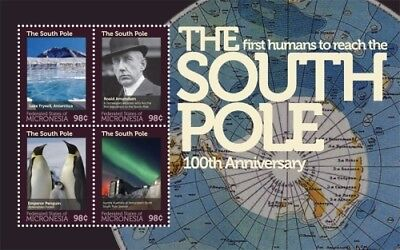 Micronesia- South Pole Exploration 100th Anniv. Stamp- Sheet of 4 MNH
