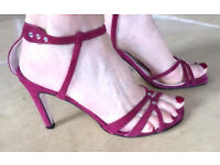 Hobbs Suede Strappy Sandals with Crystal Detail - Size 3, In Excellent Condition