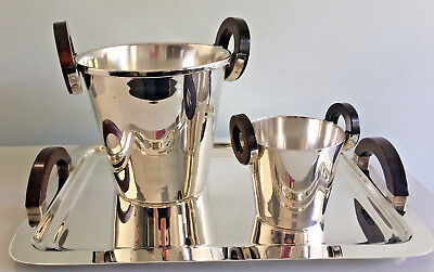 Lappas Deco Champagne Bucket, Ice Pail, & Tray; Silver Plate & Wood Handles Wholesale Champagne Buckets